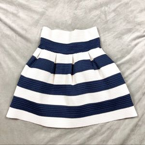 Neslay designer stretch skirt navy white stripe